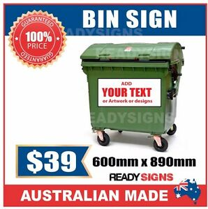 Bin Sign - Bin Sticker -  600mm x 890mm to suit Industrial 660L to 1100L Bins