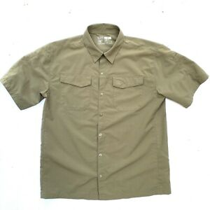 5.11 Men's M Khaki Taupe Freedom Flex Perforated Short Sleeve Shirt Snap Front