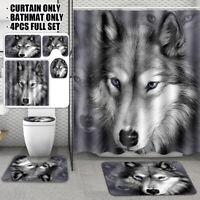 Wolf Animal Shower Curtain Bathroom Waterproof Rug + Toilet Cover Mat Anti-slip