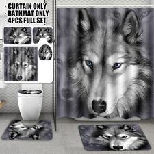 Wolf Animal Shower Curtain Bathroom Waterproof Rug + Toilet Cover Mat