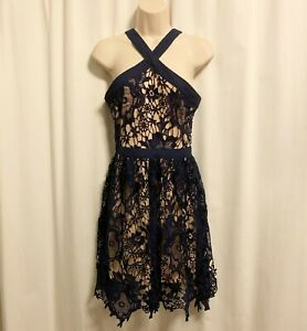 Francesca's S Small Carley Y Neck Lace Crochet A-Line Dress Navy Blue Cocktail