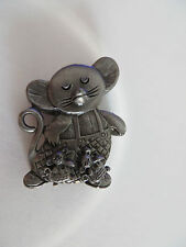 VTG Pewter ~ Torino Mouse Set ~ Earrings, Necklace, Brooch Pin ~ FREE SHIPPING