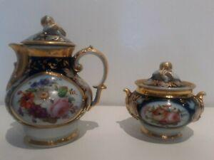 Verseuse & Pot à Lait et Sucrier & Porcelaine de Valentine & Bayeux