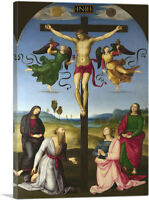 The Crucified Christ with Virgin Mary, Saints Angels Canvas Art Print Raphael