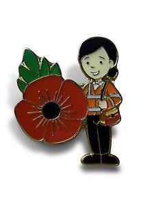 Royal Mail Post Lady Poppy Badge