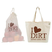 EcoBags® 2 Piece Set Printed Canvas Tote Bag I Love Dirt  Matching Produce Bag