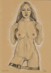 original drawing A3 67DO art samovar modern female nude pastel signed 2020