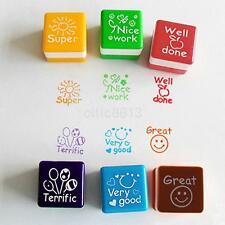 6pcs Chic Teacher Stamper Self Inking Praise Reward Stamps Motivation Sticker