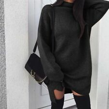 UK Womens High Neck Jumper Dress Sweatshirts Loose Plain Pullover Tops Outwear
