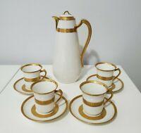 Haviland & Co Limoges Coffee/Chocolate Set - Gold Border Design