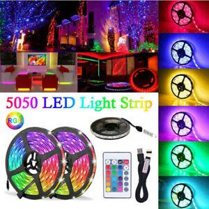 1/2/3M LED Strip Lights 5V 5050 RGB Dimmable USB TV Back Lighting+Remote Control