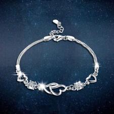 Xmas Valentine Open Heart 925 Sterling Silver Bracelet Charm Jewellery Womens