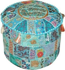 Ethnic Ottoman Pouf Cover Cotton Handmade Embroidered Round Assorted Patchwork