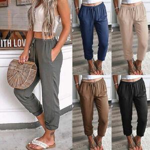Women's Elastic Waist Casual Pocket Trousers Capri Joggers Lounge Wear Pants New