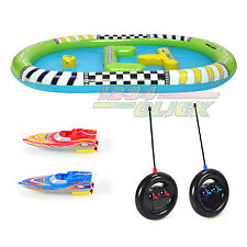 New Remote Control Twin Aqua Racer Racing Boats with Inflatable Pool RC Boat