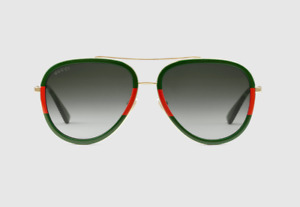 Gucci Green Aviator Metal Sunglasses Gold Metal With Green-Red Frame
