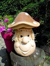 1-lustiger Fliegenpilz-Keramik-Stroh-Haar-groß-31cmx23 cm-rustikal-B-Herbstdeko