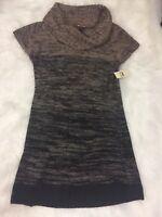 Lei Sweater Tunic Dress Junior Size XXL Tan Black Knit Stretchy Casual Cowl Neck