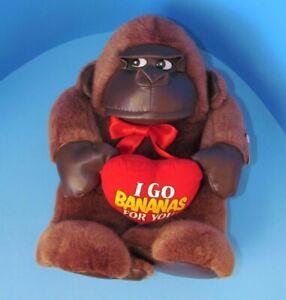 "VINTAGE 1998 Gorilla ""I Go Bananas For You"" Valentine's Day Plush 12"" L@@K"