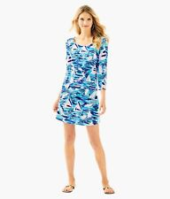 Lilly Pulitzer Tammy Pier Pressure Boat French Terry 3/4 Sleeve UPF 50+ Dress  M