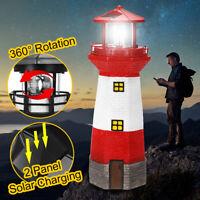 2 Solar Panel Rotating LED Light Lighthouse Garden Leuchtturm Beacon Lamp Decor