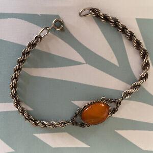 Vintage Braided Twist Hallmarked Russian 875 Silver Bracelet w Amber Cabochon