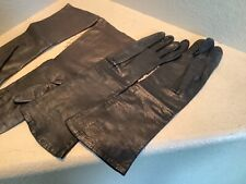 Vintage Two Pair Of Long Kid Leather Gloves Brown and Black sz 7 W. Germany Euc
