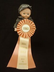 """REPRODUCTION """"JDK 221"""" BISQUE GOOGLY EYE DOLL by Joyce Watkins 1983 10"""" tall"""