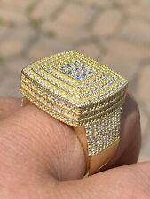 Large Iced 14k Gold Over Real Solid 925 Sterling Silver Men Diamond Ring Hip Hop