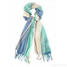 Passigatti Damen Baumwoll Schal Fransen 100/180 Blau