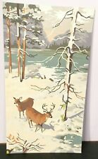 """Vtg Paint by Numbers Unfinished Painting / Two Deer by the Lake 18"""" H x 10"""" L"""