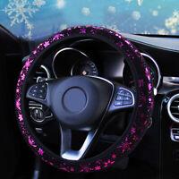 1x Purple Flower Car Steering Wheel Cover Anti-slip Protector Women Girls Lady