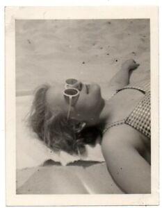 Woman Sleeping Laying On Beach Sunglasses Scene Vintage Snapshot Photo