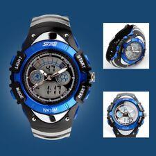 Kids Teen Child Boys Digital Alarm Chrono LED Waterproof Wrist Watch Blue