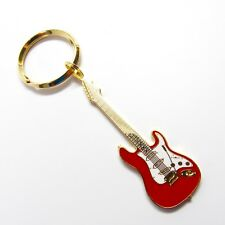 Fender Stratocaster Electric Guitar 24K Gold & Red Key Chain w/Gift Box - NWT