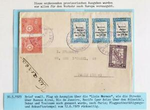 PARAGUAY via Argentina/Brazil to FRANCE 1929 Mermoz-Line Flight Airmail Cover to