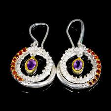 Handmade Natural Amethyst 925 Sterling Silver Earrings /E33659