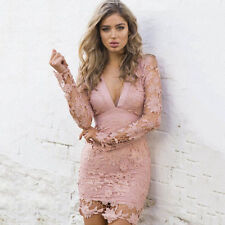 2017 Women'S Lace Bodycon Party Long Sleeve Floral Backless Mini Cocktail Dress