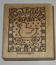 Welcome Baby Rubber Stamp Rubber Ducky Pull Toy Stampin' Up Shower GUC Buttons