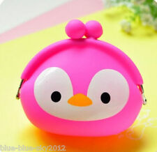 Pink PENGUIN Cute COIN PURSE Clip Fastening Silicone Jelly Bag Wallet UK Sale GB