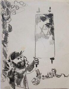 Leo Roth: Hassid with Torah Scroll in Kibbutz Landscape / Israeli Jewish Pencil