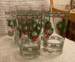 Vintage Victorian Christmas Glasses Tumblers (6) Indiana Glass Co 16 oz.