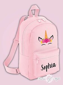 Personalised Kids Backpack - Any Name Unicorn Girls NURSERY Back To School Bag .