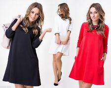 Crew Neck Patternless 3/4 Sleeve Synthetic Dresses for Women