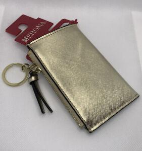 Cardholder Wallet Metallic Gold with Zipper/Keychain/Keyring/Side Pocket -Merona