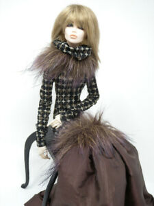 Brown Organza & Print Gown by KK Fits Fashion Royalty FR16 inch,Tyler Sybarite