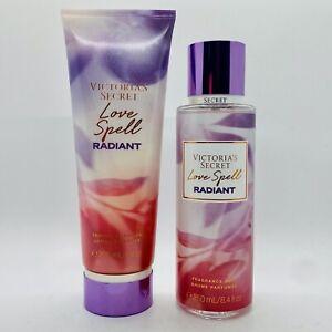 "Victoria's Secret Love Spell ""Radiant"" Fragrance Lotion & Body Mist Set 8 oz"