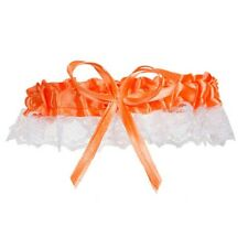 SATIN LACE NEON ORANGE & WHITE RIBBON & BOW BRIDE'S WEDDING BRIDAL GARTER TOSS