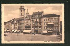AK Zittau, Markt mit Johanniskirche 1928