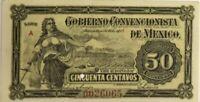 MEXICO BANKNOTE 50 CENTAVOS 1915 GOBIERNO CONVENCIONISTA DE MEXICO used Cir.